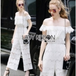 Lady Ribbon Michelle Pure White Lace Jumpsuit