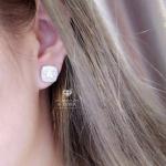 Diamond earring ต่างหูเพชรCZ8Aฝังแท้ ทรงเหลี่ยม