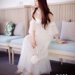 ชุดเดรสแฟชั่น เดรสเกาหลีเดรสแมกซี่สีขาวตัวยาว ช่วงแขนแต่งระบาย