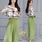 เสื้อผ้าแฟชั่นเกาหลีสวยๆชุดเซท เสื้อ+กางเกงกระโปรง