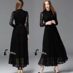 Long dress. ลูกไม้ดำผ้านุ่มลื่นไม่คัน คอปิด