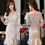 Lady Ribbon Peplum Lace Dress เดรสผ้าลูกไม้สีขาวสไตล์วินเทจ