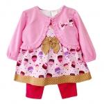 เสื้อผ้าเด็กขายส่ง ชุดกระโปรงเลกกิ้งผ้าไม่ยืด พร้อมเสื้อคลุมผ้าคอตตอนเนื้อนุ่ม สวยน่ารัก