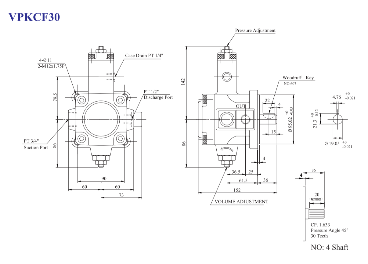 Vane Pump Diagram Vpkc F3040 A4 Variable Siam Industrial Complete Co