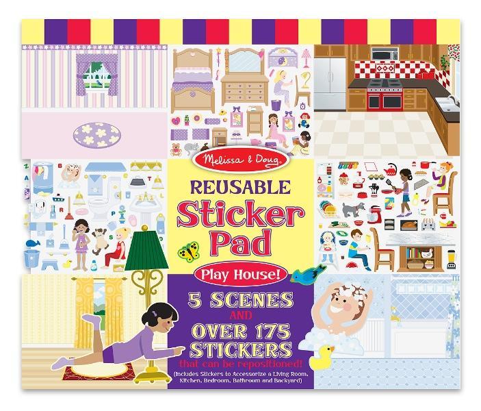 Melissa & Doug Play House Reusable Sticker Pad สมุดสติกเกอร์ แบบลอกได้++ พร้อมส่ง++