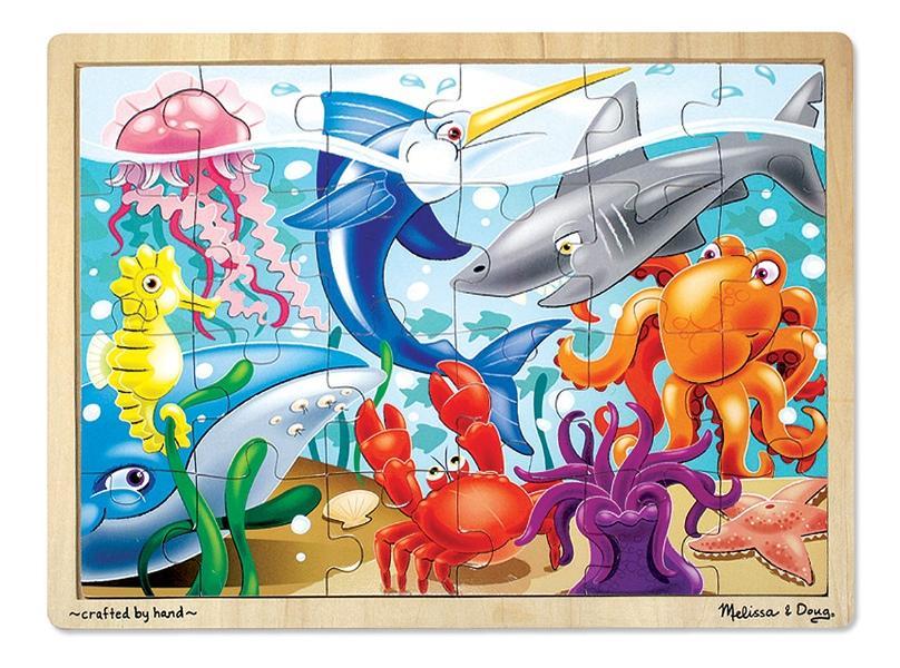 จิ๊กซอชิ้นใหญ่ Wooden Jigsaw Puzzle - 24 Pcs Sea Life