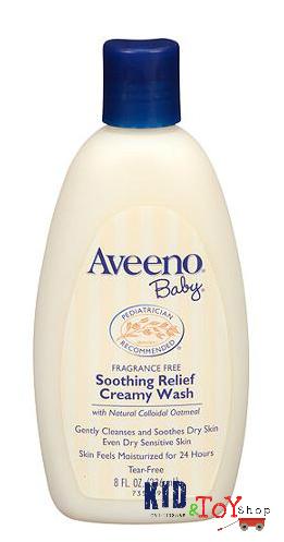 ครีมอาบน้ำสูตรเข้มข้นสำหรับเด็กผิวแห้งAveeno soothing relief creamy wash 8 oz