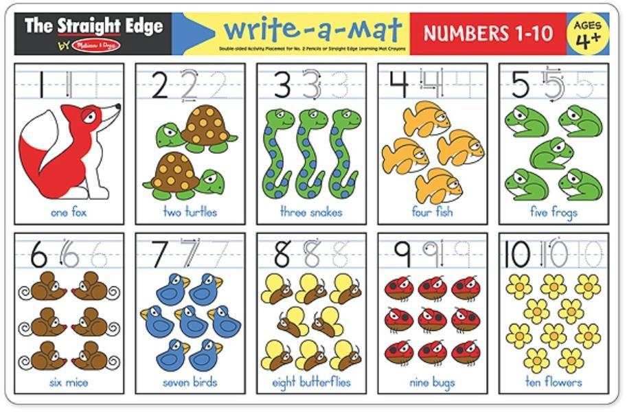 แผ่นรองจานนับเลขแสนสนุก Melissa and doug Write-A-Mat Learning Mat - Numbers