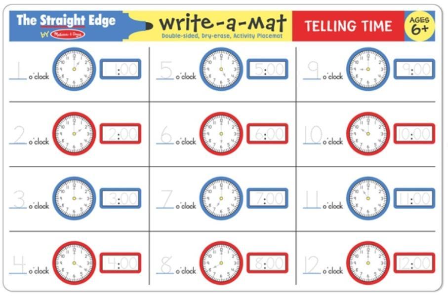 แผ่นรองจานเขียนลบได้ Write-A-Mat Learning Mat - Telling Time & Clock