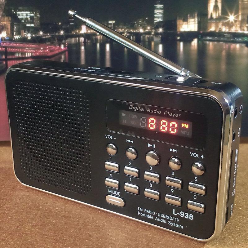 วิทยุพกพา FM MP3 L-938 สีดำ