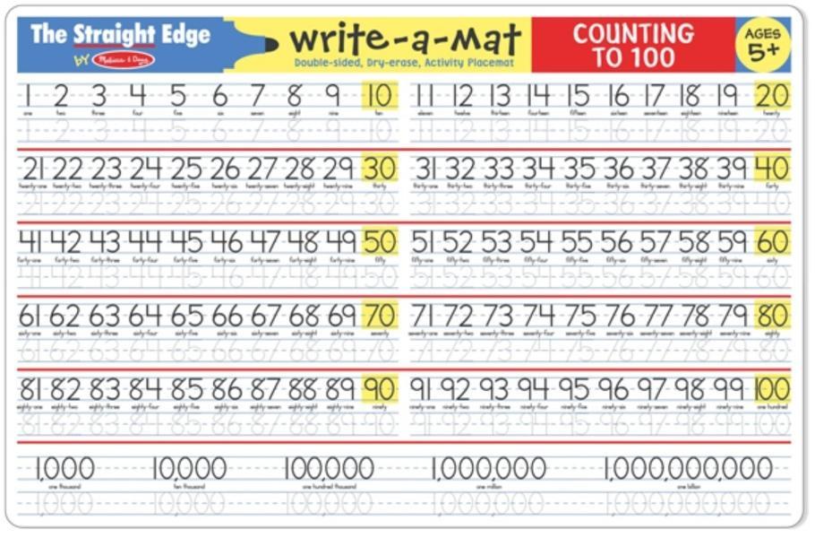 แผ่นรองจานแสนสนุก Melissa and doug Write-A-Mat Learning Mat - Counting 1-100