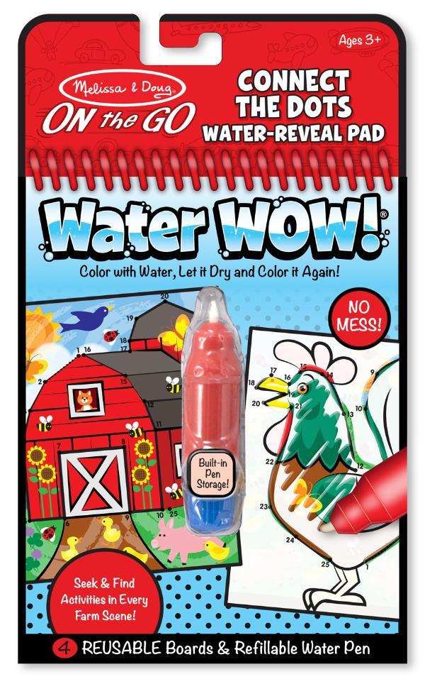 สมุดระบายสีแบบพกพา Melissa and Doug Water Wow Reusable - รุ่นต่อจุดตัวเลข ตีมฟาร์ม