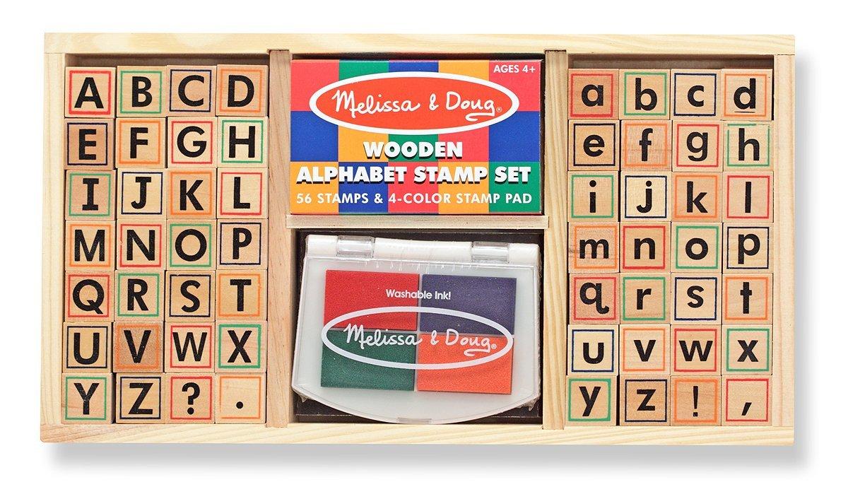 Melissa & Doug Wooden Alphabet Stamp Set ตัวปั๊ม A-Z