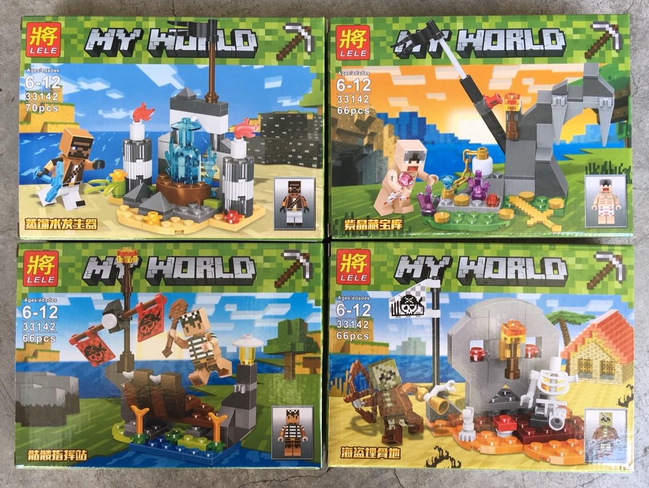 เลโก้ชุดเล็ก LELE 33142 ชุด Minecraft 4 กล่อง