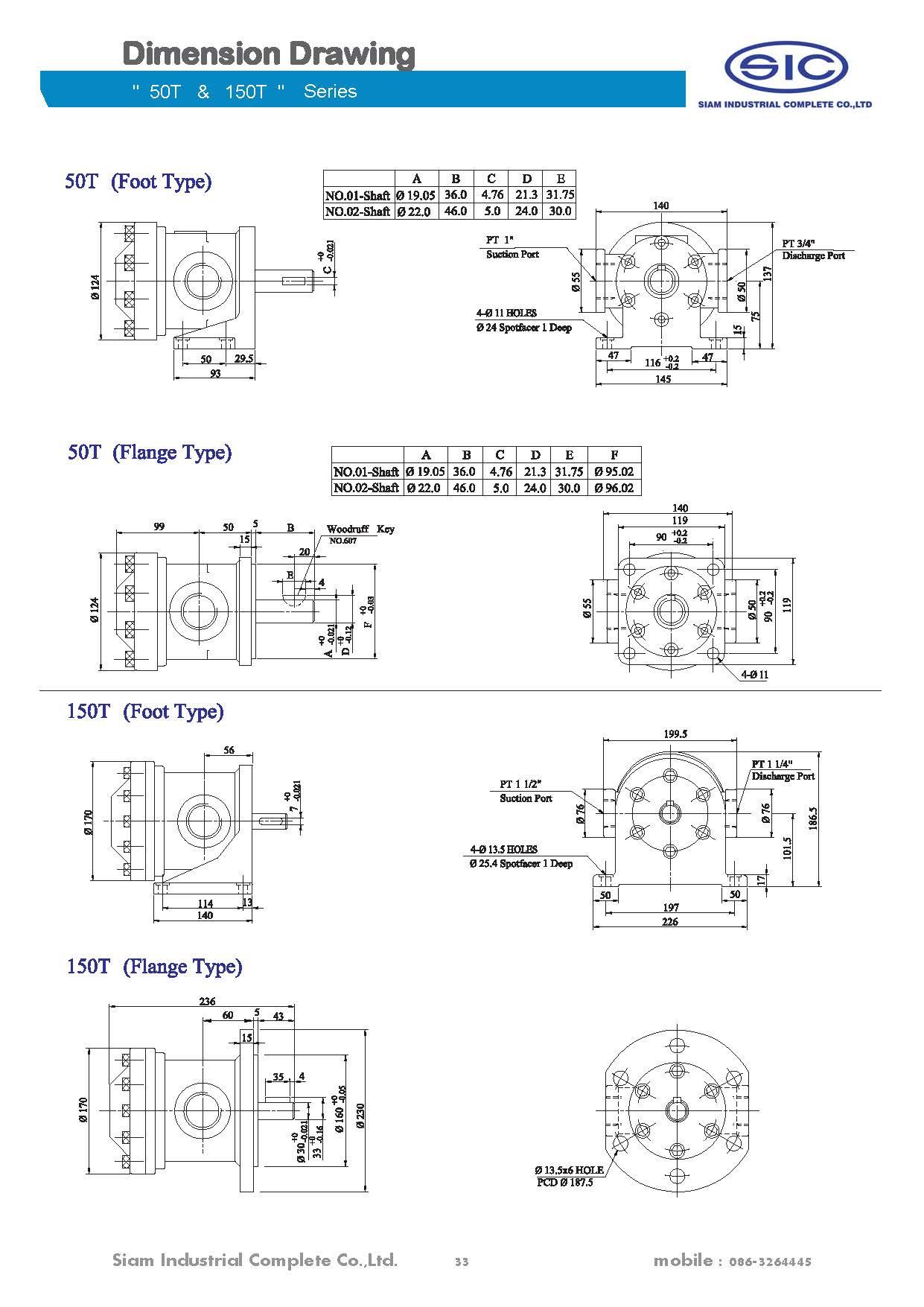 150t 61 L Rl150t 75 116 Rl Vane Pump Hydraulic Siam Diagram Fix Series Working Pressure 70kgf Cm2 70 611cc Rev 14500 749cc